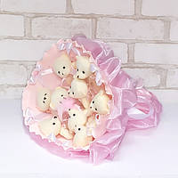 Букет из игрушек Мишки 9 нежно-розовый, фото 1