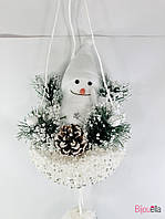 Новогодний декор подвесной Снеговик с шарами  75 см
