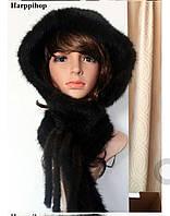 Жіночий капор з хутра норки чорний, норковий капор, фото 1