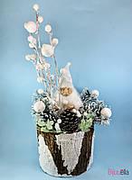Новогодний большой декор Дед Мороз в пеньке 60 см