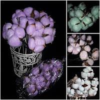 Красивые хлопковые цветы на веточке, выс. 30-32 см., диам. головы 4-5 см., 12 гр.