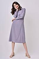 Женское платье миди Lipar Серое Батал