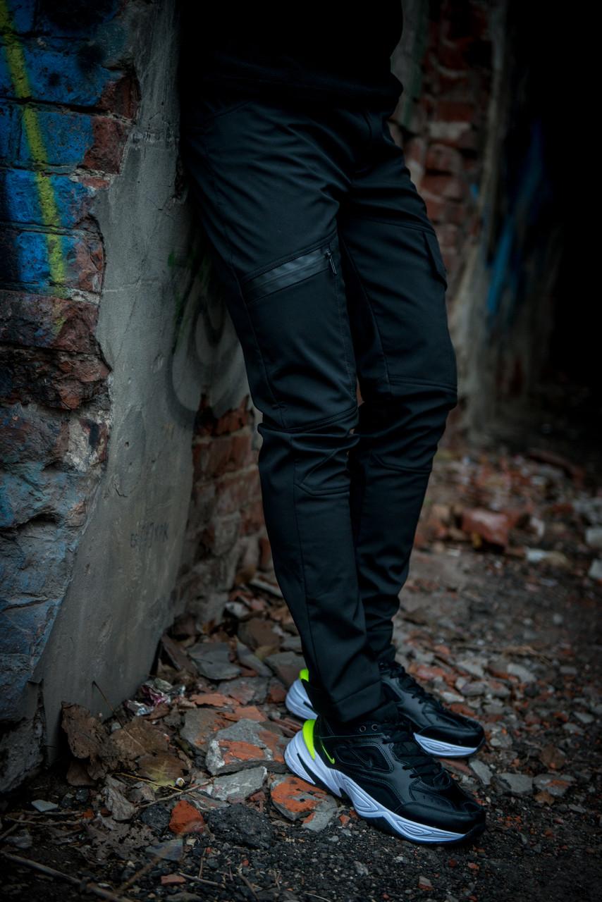 Теплые штаны карго черные Conqueror Intruder + подарок