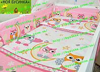 Простынка в детскую кроватку на резинке -Совушки