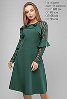 Женское платье с гипюровым рукавом Lipar Зеленое