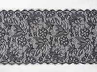Ажурное французское кружево шантильи (с ресничками) черного цвета шириной 24 см, длина отреза 2,0 м.