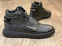 Adidas tubular ботинки мужские кожаные чёрные зимние, размеры 40-45