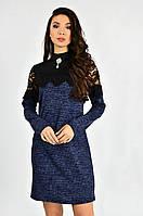 Женское платье с кружевом и гипюром Lipar Синее Батал