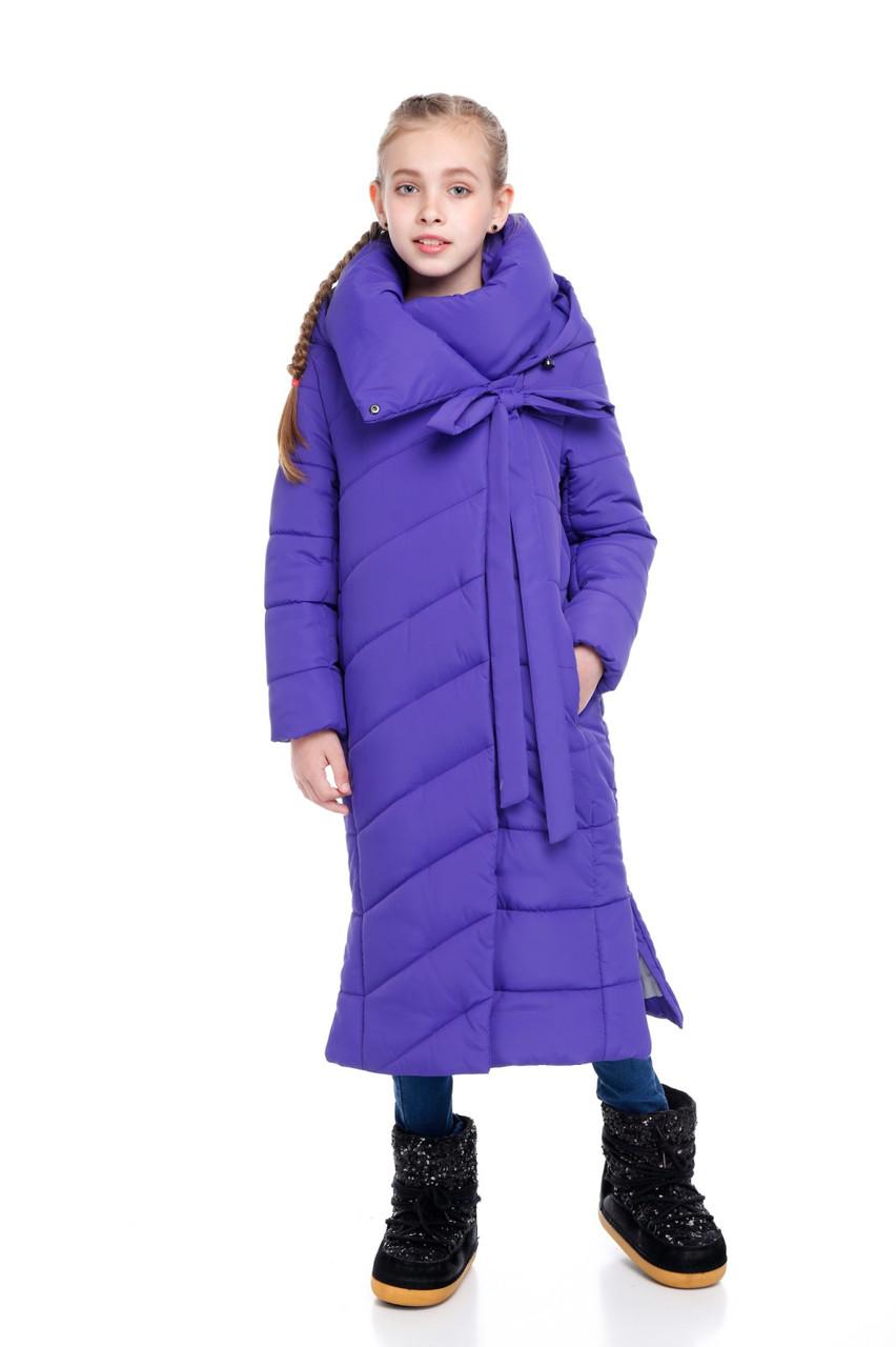 Детский зимний пуховик-одеяло удлиненный на синтепухе без меха для девочки Вероника |122-158р.