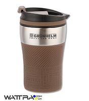 ⭐ Термокружка (250 мл) GRUNHELM GTC301 коричневая, нержавеющая сталь, силиконовая накладка