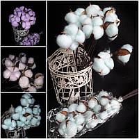 Белые хлопковые цветы, 9 голов на ветке, выс. 50 см., диам. головы 4-6 см., 85 гр.