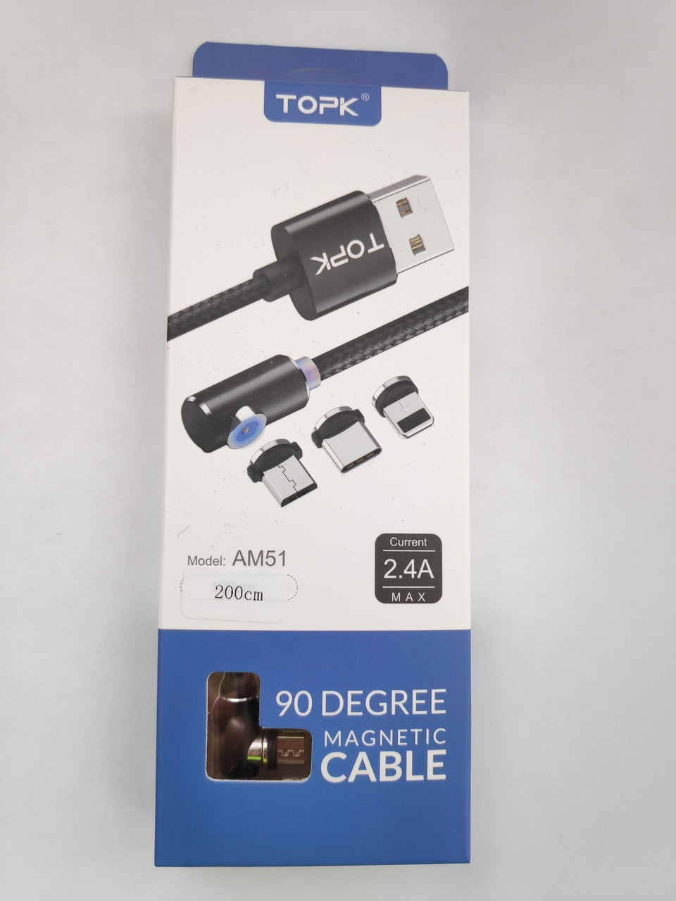 Кабель магнитный с подсветкой BOX TOPK Micro USB 2 метра угловой 90° в оплетке для зарядки. Черный