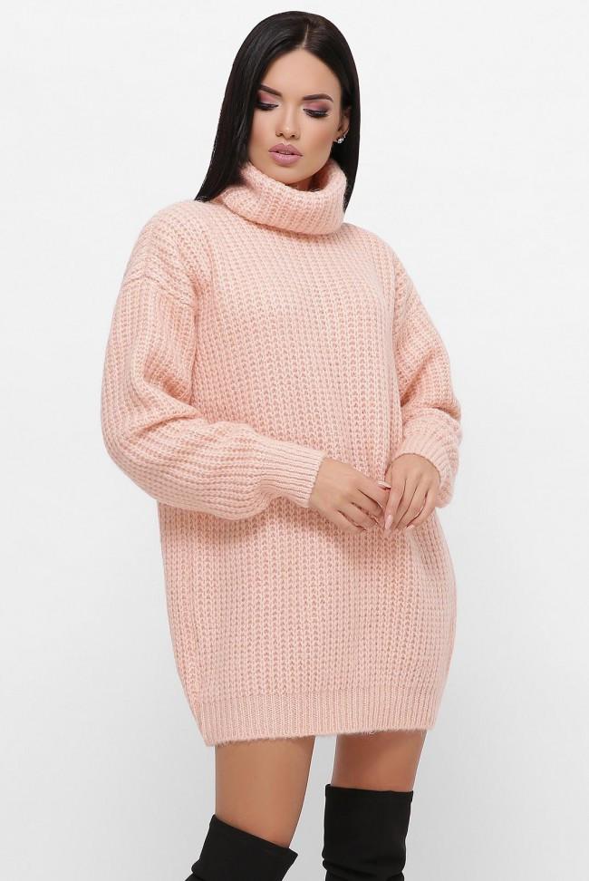 """Персиковый теплый свитер-туника с высоким воротником """"ELINA"""""""