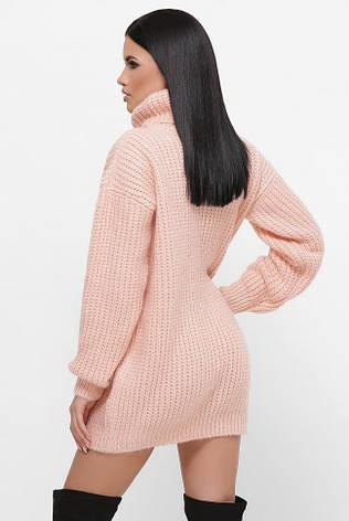 """Персиковый теплый свитер-туника с высоким воротником """"ELINA"""", фото 2"""