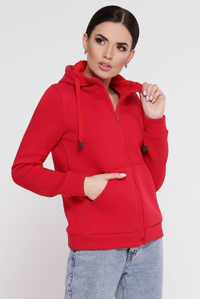"""Утепленная женская толстовка на флисе красного цвета с капюшоном и карманами кенгуру """"Tessie"""""""