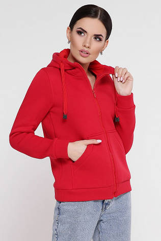 """Утепленная женская толстовка на флисе красного цвета с капюшоном и карманами кенгуру """"Tessie"""", фото 2"""