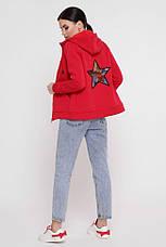 """Утепленная женская толстовка на флисе красного цвета с капюшоном и карманами кенгуру """"Tessie"""", фото 3"""