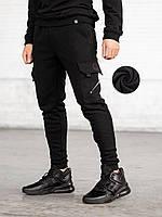 Теплые спортивные карго штаны BEZET Black на флисе