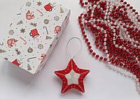 Новогодняя игрушка Звезда красная из бисера ручной работы
