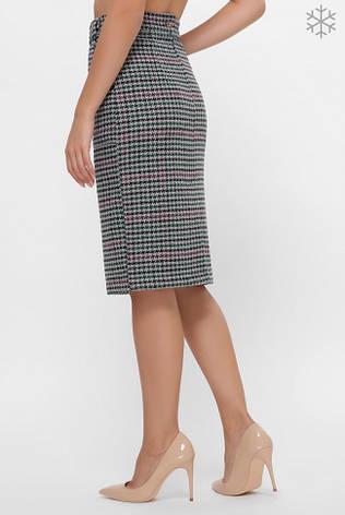 """Теплая юбка с двухцветным узором """"гусиная лапка"""" на сером фоне, из мягкого твида, фото 2"""