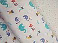 Сатин (хлопковая ткань) цирковые слоники (90*160), фото 3