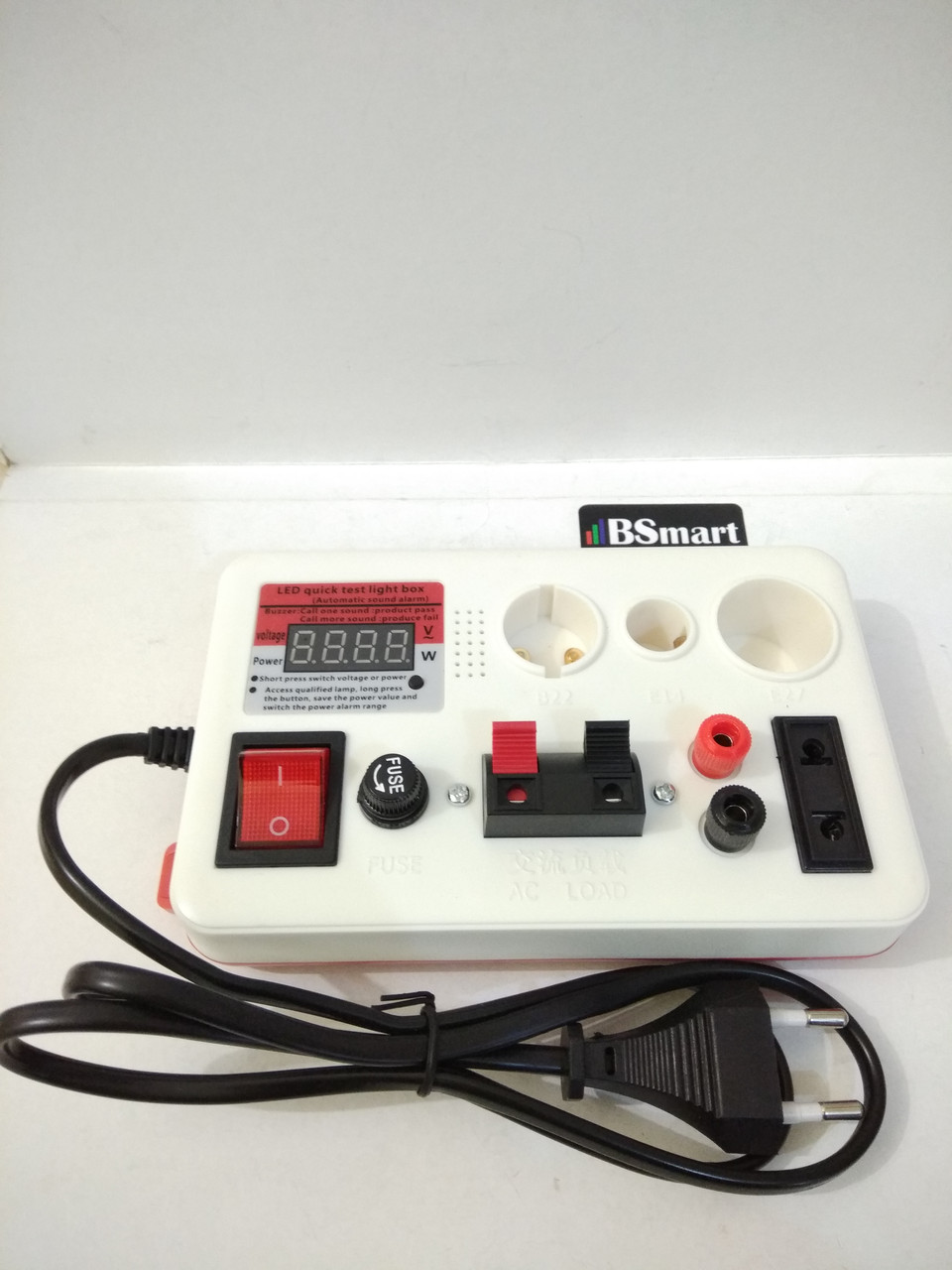Тестер для проверки ламп c дисплеем, пробник на 3 патрона Е27, Е14, GU10, разьёми