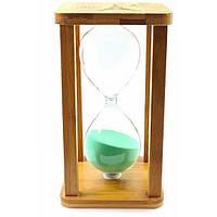 Часы песочные бамбуковые 60 мин бирюзовый песок (19х10х10 см) ( 32929)