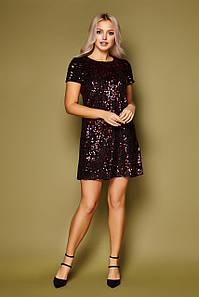 Вечернее платье мини с пайетками прямого кроя короткий рукав черный-бордо
