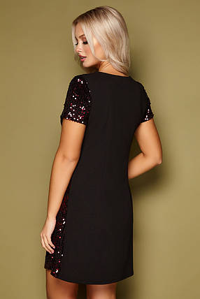 Вечернее платье мини с пайетками прямого кроя короткий рукав черный-бордо, фото 2