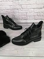 Ботинки женские из натуральной кожи на низком ходу шнуровке кожаные на байке овчине от производителя