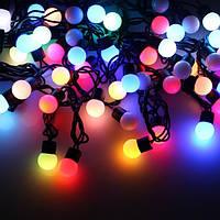 """Уличная Cветодиодная гирлянда Нить Шарики """"String"""" 10 метров Мульти Цветной, 100 LED Белый провод каучук пвх"""