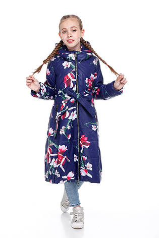 Детский зимний пуховик для девочки  на синтепухе без меха, внутри флис Аврора |122-158р., фото 2