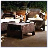 Стол садовый уличный Keter Corfu Сoffee Rattan Style Table Brown ( коричневый ) из искусственного ротанга, фото 3