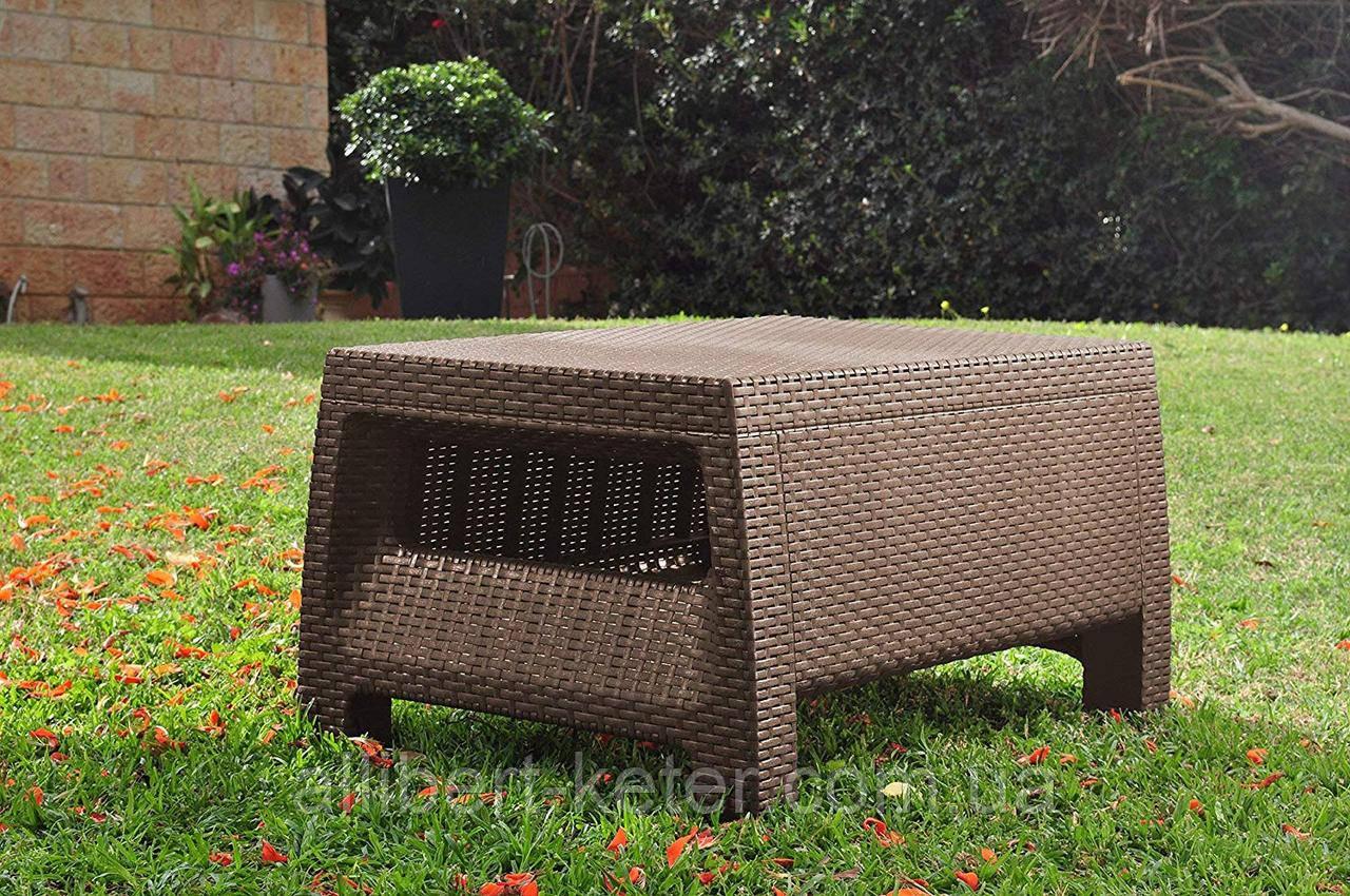 Стол садовый уличный Keter Corfu Сoffee Rattan Style Table Brown ( коричневый ) из искусственного ротанга