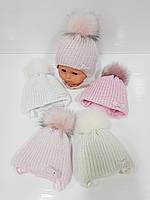 Детские утепленные вязаные шапки оптом с завязками и помпоном для девочек, р.36-38, Grans (Польша), фото 1