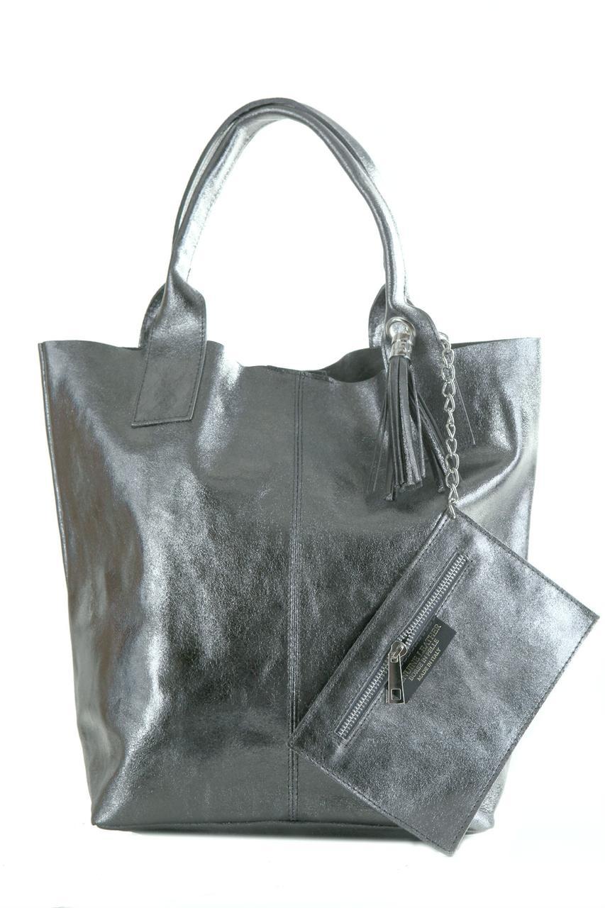 Стальная женская сумка шопер BRIGIDA Diva's Bag кожаная 27 см х 38 см х 17 см