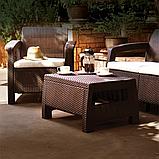 Стол садовый уличный Keter Corfu Сoffee Rattan Style Table Brown ( коричневый ) из искусственного ротанга, фото 6