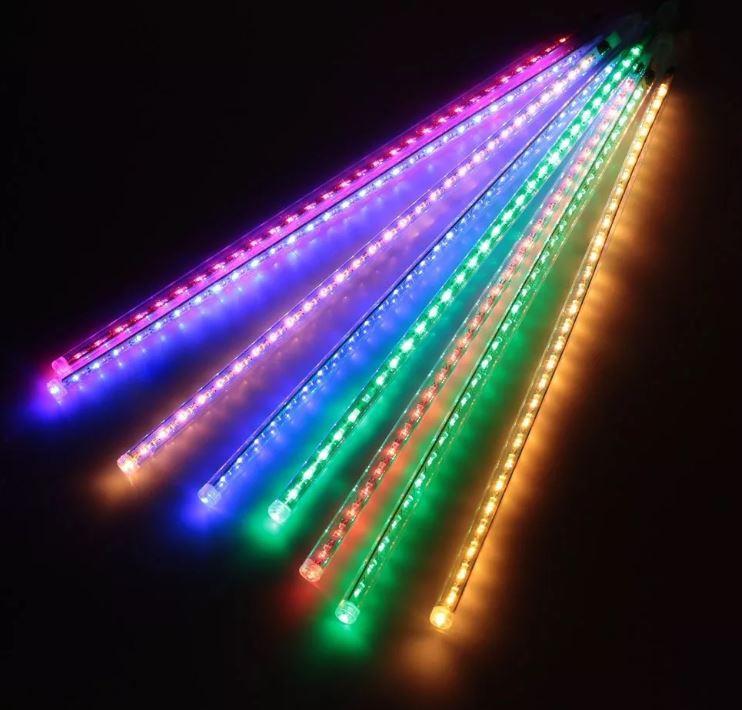 Гирлянда Тающие сосульки, 8шт, 30 led, мульти, прозрачный провод, 50 см.