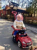 Детская машинка  каталка-толокар 3 в 1 с родительской ручкой на аккумуляторе Mercedes Benz красный ЛИЦЕНЗИЯ