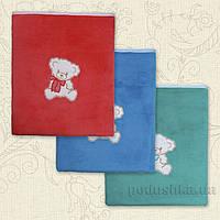 Плед детский с вышивкой Тимоша-2 Бетис махра-кулир  цвет голубой