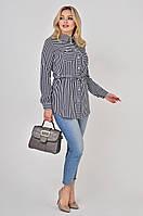 Женская рубашка в тонкую полоску Lipar Синяя Батал