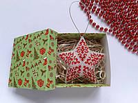 Новогодние игрушки Звезда с узором из бисера ручной работы