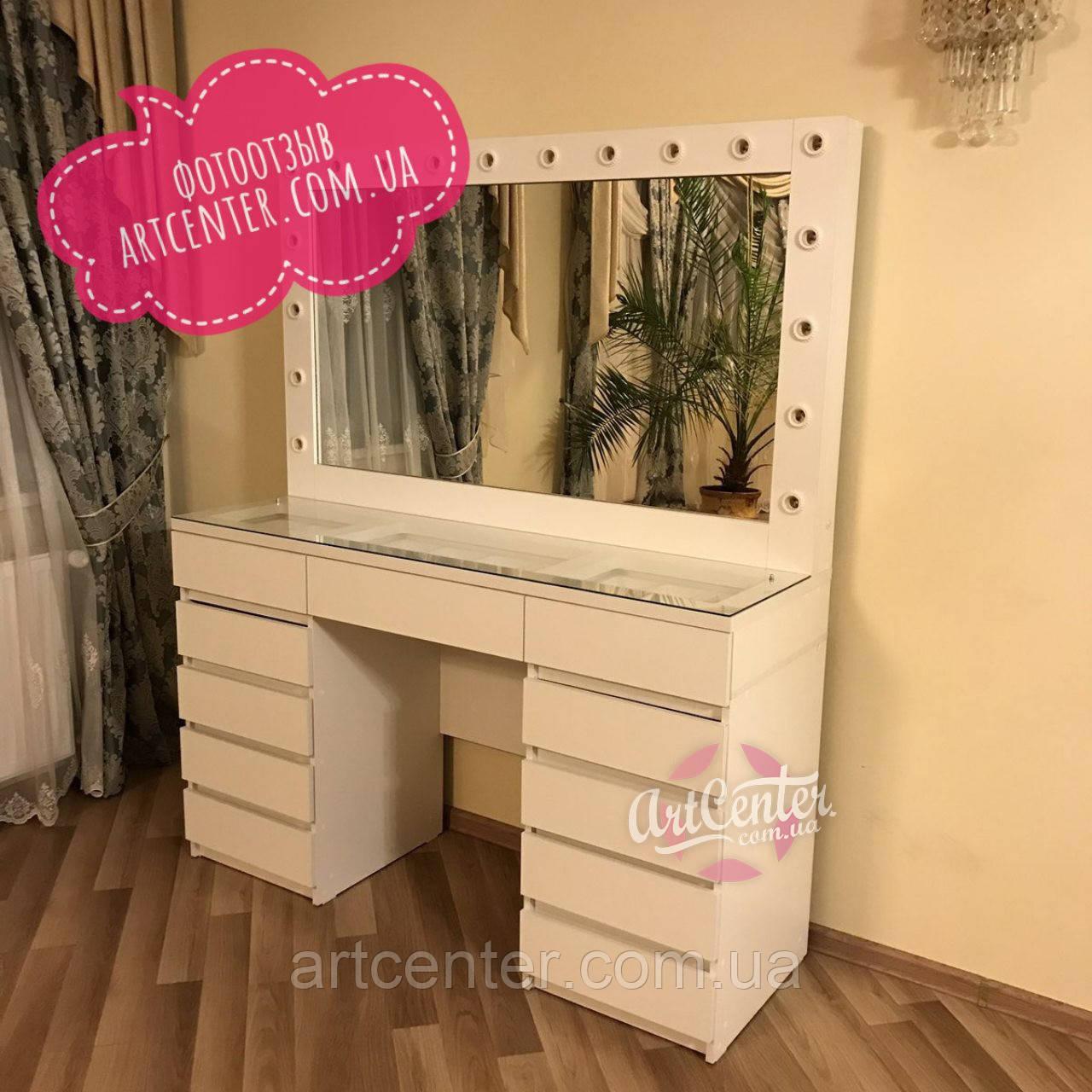 Стол для визажиста,  туалетный столик, большой  гримерный столик с ящиками