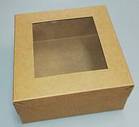 Коробка с прозрачным окном для пирожных 130*130*60 бурая