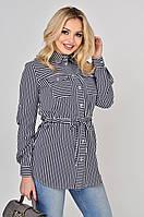 Женская рубашка в тонкую полоску Lipar Синяя