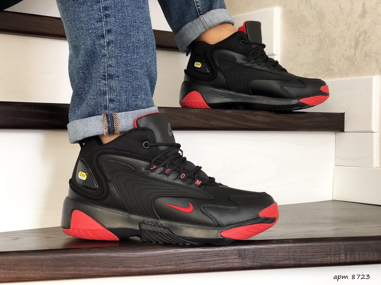 Мужские  зимние кроссовки Nike Zoom 2K,черные с красным