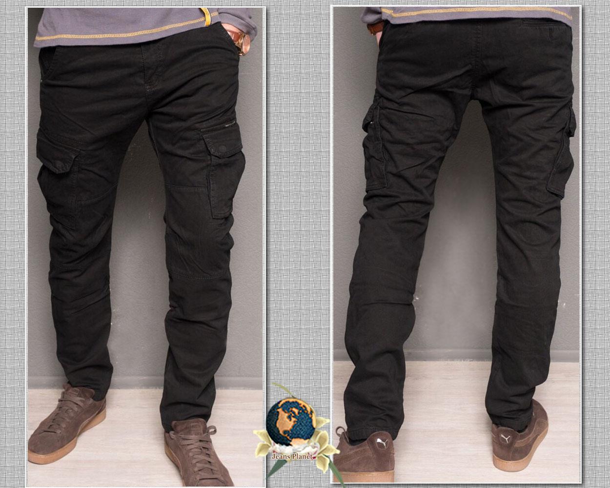 Джинсы мужские утеплённые с накладными карманами чёрного цвета Forex