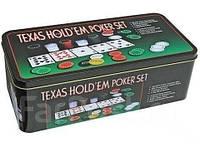 Покерный набор на 200 фишек с номиналом + сукно (жестяная коробка)