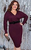 Нарядное новогоднее платье для полных бордовое
