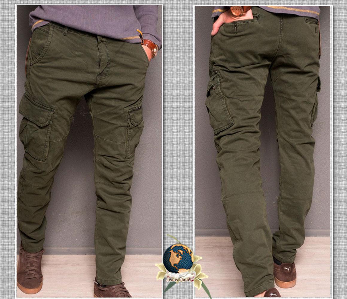 Джинсы мужские утеплённые с накладными карманами Forex цвета зелёный хаки